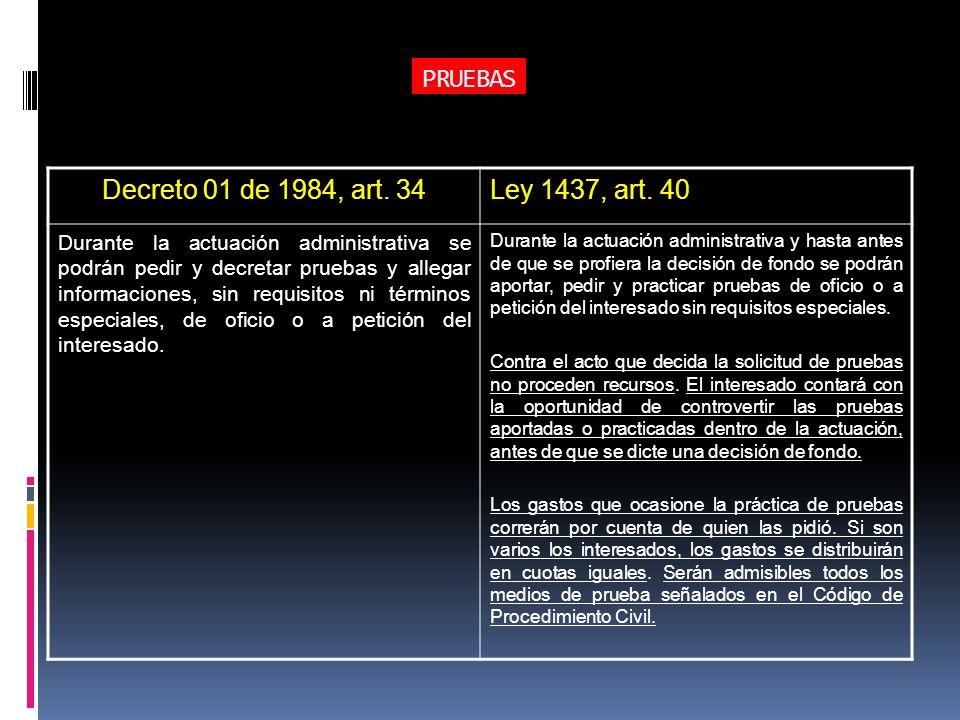 PRUEBAS Decreto 01 de 1984, art. 34Ley 1437, art. 40 Durante la actuación administrativa se podrán pedir y decretar pruebas y allegar informaciones, s
