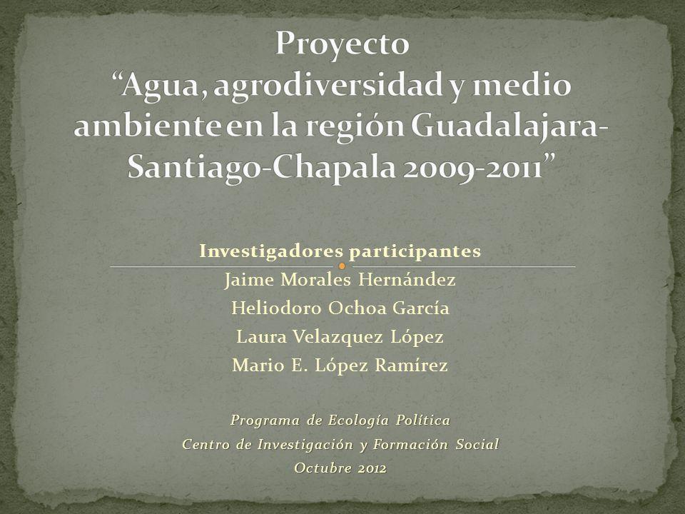 Investigadores participantes Jaime Morales Hernández Heliodoro Ochoa García Laura Velazquez López Mario E. López Ramírez Programa de Ecología Política