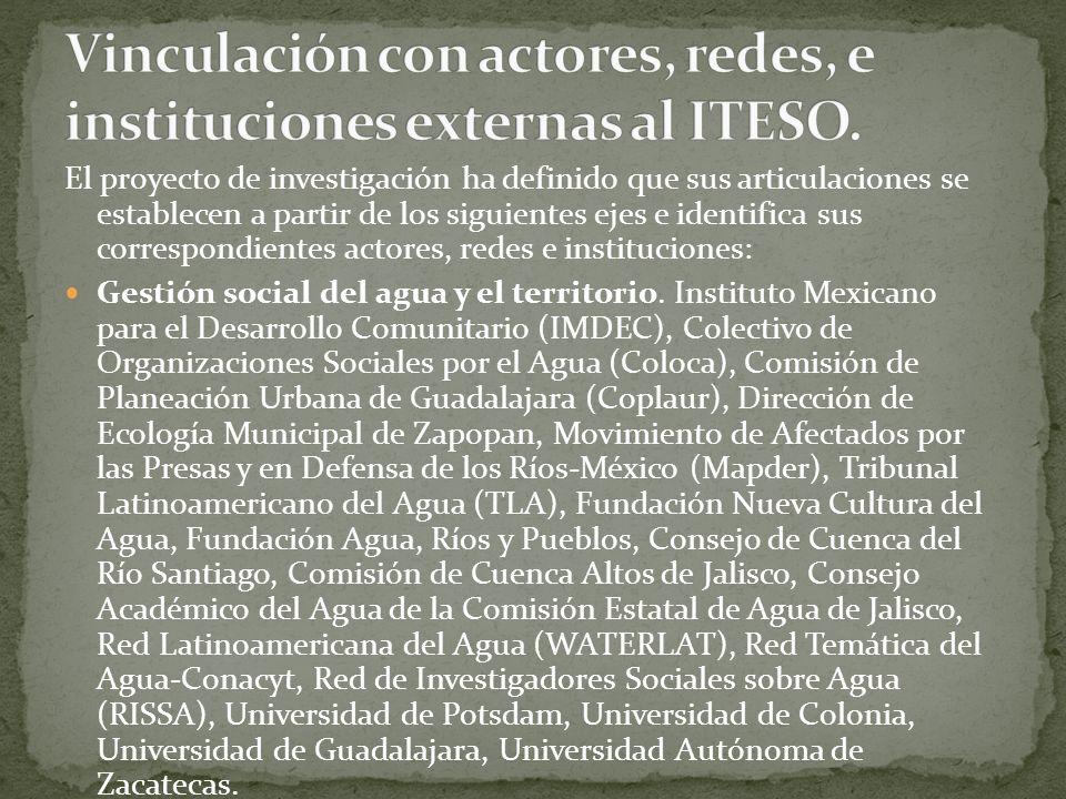 El proyecto de investigación ha definido que sus articulaciones se establecen a partir de los siguientes ejes e identifica sus correspondientes actore