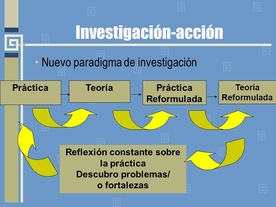 Investigación-acción Nuevo paradigma de investigación Práctica Reformulada TeoríaPráctica Reflexión constante sobre la práctica Descubro problemas/ o