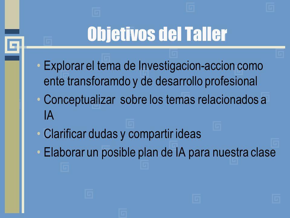 Objetivos del Taller Explorar el tema de Investigacion-accion como ente transforamdo y de desarrollo profesional Conceptualizar sobre los temas relaci