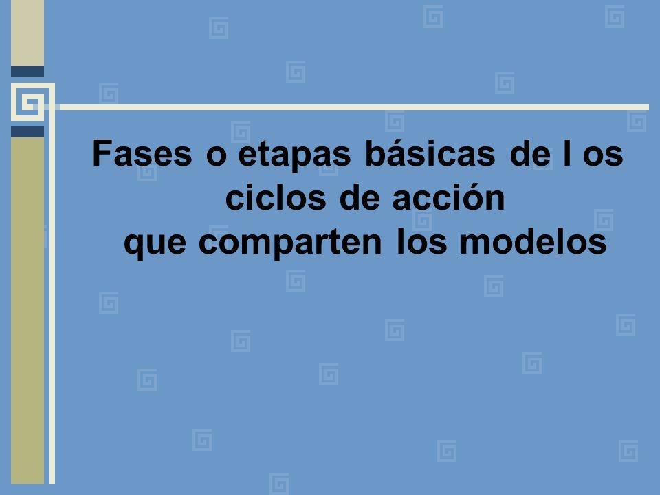Fases o etapas básicas de l os ciclos de acción que comparten los modelos