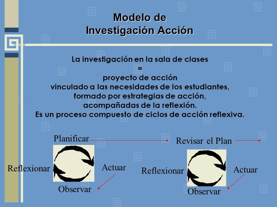 La investigación en la sala de clases = proyecto de acción vinculado a las necesidades de los estudiantes, formado por estrategias de acción, acompañadas de la reflexión.