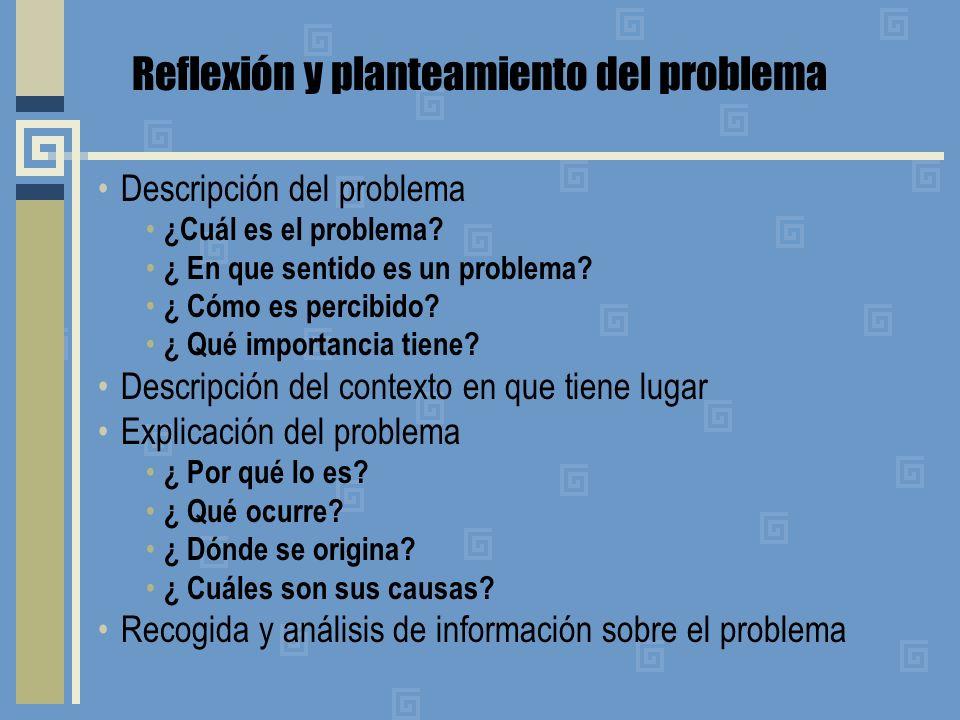 Reflexión y planteamiento del problema Descripción del problema ¿Cuál es el problema? ¿ En que sentido es un problema? ¿ Cómo es percibido? ¿ Qué impo