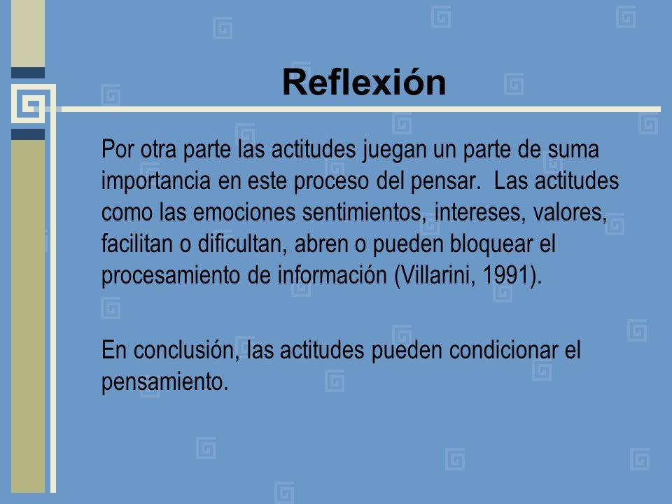 Reflexión Por otra parte las actitudes juegan un parte de suma importancia en este proceso del pensar. Las actitudes como las emociones sentimientos,