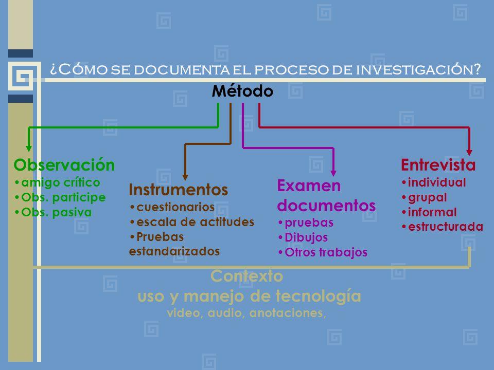 ¿Cómo se documenta el proceso de investigación? Método Observación amigo crítico Obs. participe Obs. pasiva Entrevista individual grupal informal estr