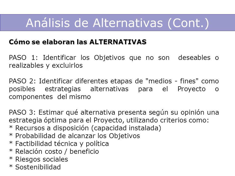Análisis de Alternativas (Cont.) Cómo se elaboran las ALTERNATIVAS PASO 1: Identificar los Objetivos que no son deseables o realizables y excluirlos P