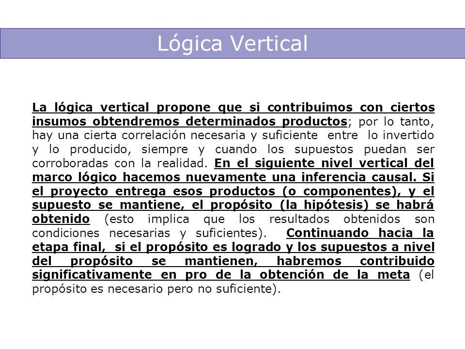 Lógica Vertical La lógica vertical propone que si contribuimos con ciertos insumos obtendremos determinados productos; por lo tanto, hay una cierta co