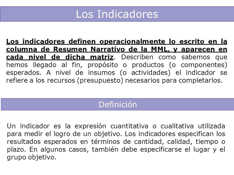 Los Indicadores Los indicadores definen operacionalmente lo escrito en la columna de Resumen Narrativo de la MML, y aparecen en cada nivel de dicha ma
