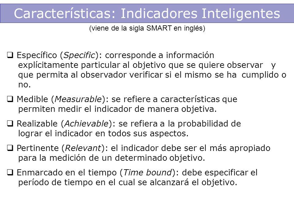 Características: Indicadores Inteligentes (viene de la sigla SMART en inglés) Específico (Specific): corresponde a información explícitamente particul