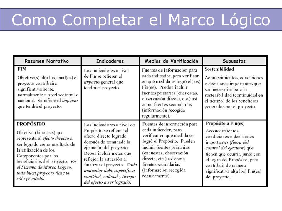 Como Completar el Marco Lógico
