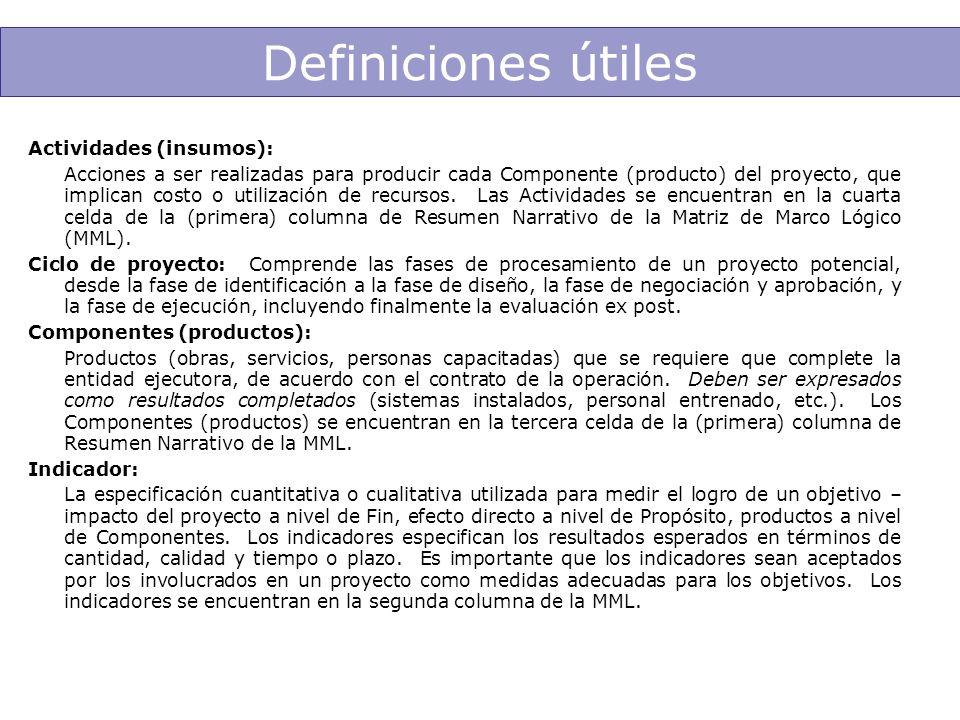 Definiciones útiles Actividades (insumos): Acciones a ser realizadas para producir cada Componente (producto) del proyecto, que implican costo o utili