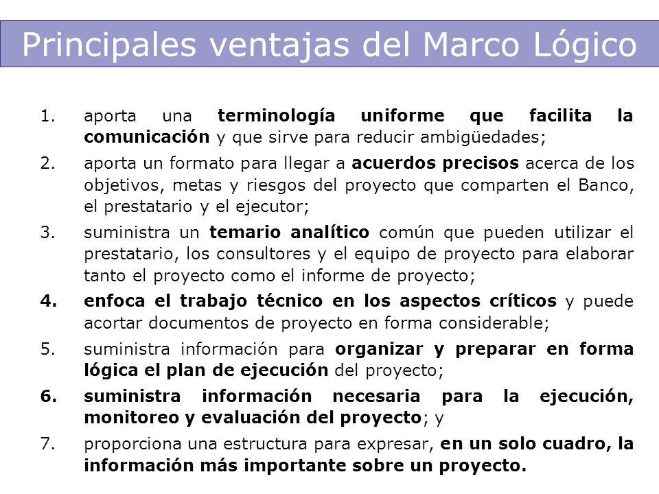 Principales ventajas del Marco Lógico 1.aporta una terminología uniforme que facilita la comunicación y que sirve para reducir ambigüedades; 2.aporta