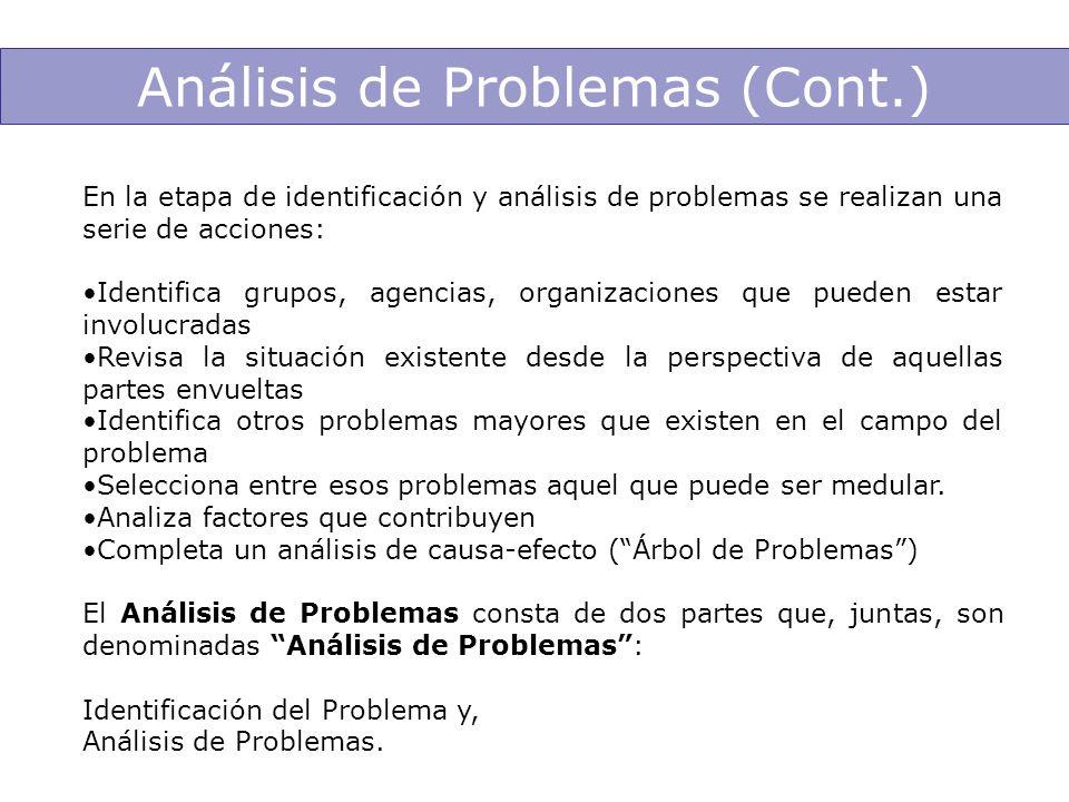 En la etapa de identificación y análisis de problemas se realizan una serie de acciones: Identifica grupos, agencias, organizaciones que pueden estar
