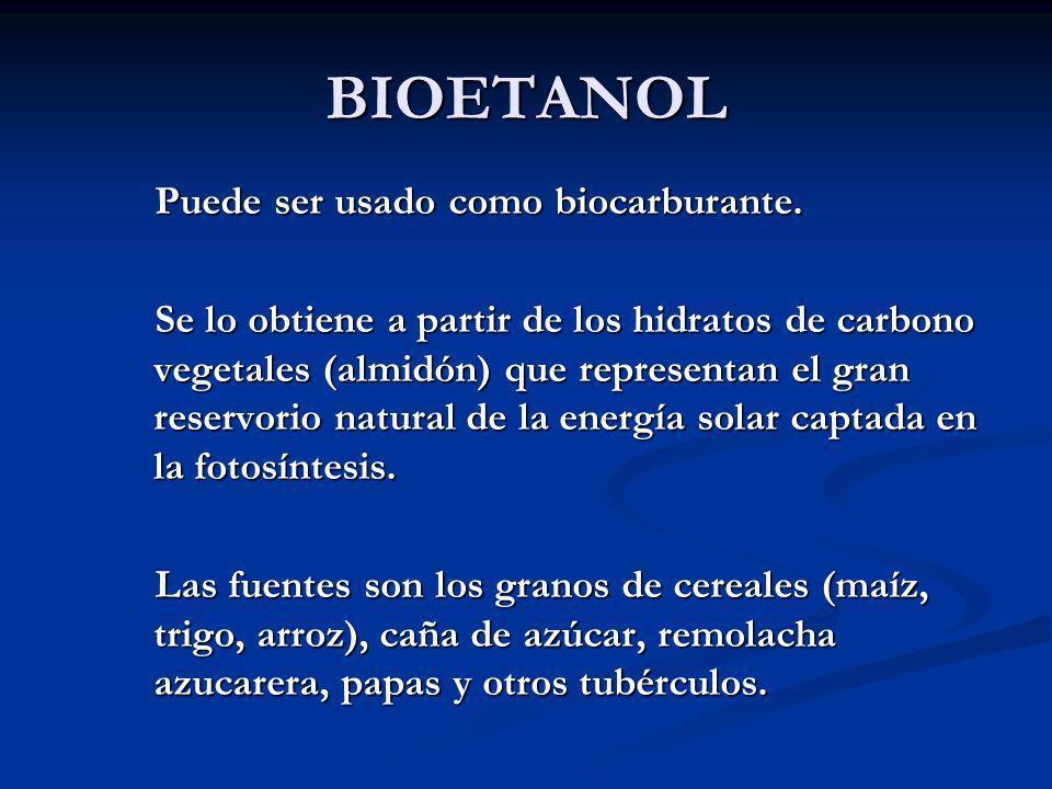 BIOETANOL Puede ser usado como biocarburante. Puede ser usado como biocarburante. Se lo obtiene a partir de los hidratos de carbono vegetales (almidón