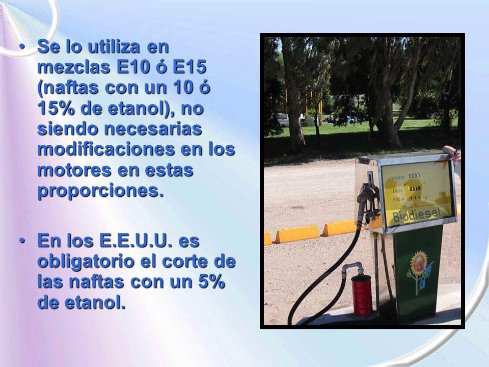 Se lo utiliza en mezclas E10 ó E15 (naftas con un 10 ó 15% de etanol), no siendo necesarias modificaciones en los motores en estas proporciones.Se lo