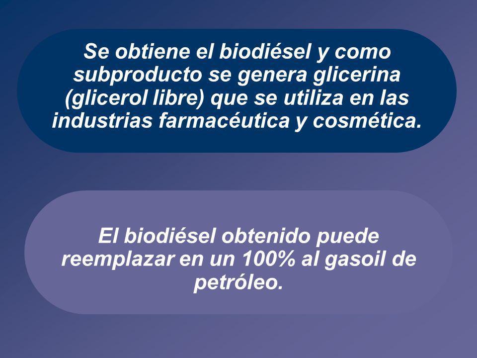 El biodiésel obtenido puede reemplazar en un 100% al gasoil de petróleo. Se obtiene el biodiésel y como subproducto se genera glicerina (glicerol libr