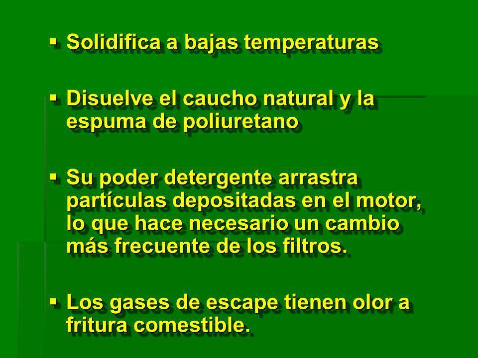 Solidifica a bajas temperaturas Solidifica a bajas temperaturas Disuelve el caucho natural y la espuma de poliuretano Disuelve el caucho natural y la