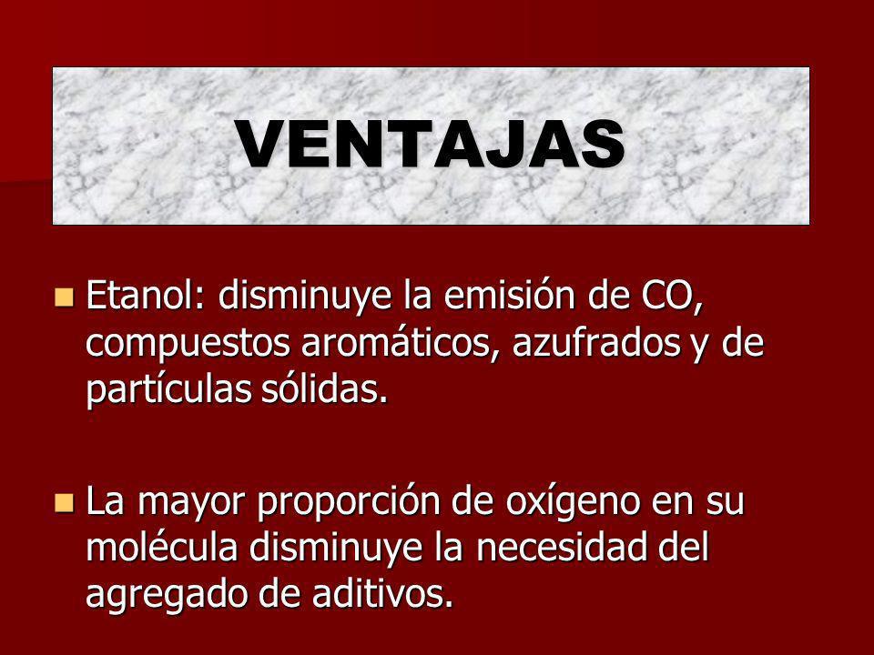 VENTAJAS Etanol: disminuye la emisión de CO, compuestos aromáticos, azufrados y de partículas sólidas. La mayor proporción de oxígeno en su molécula d