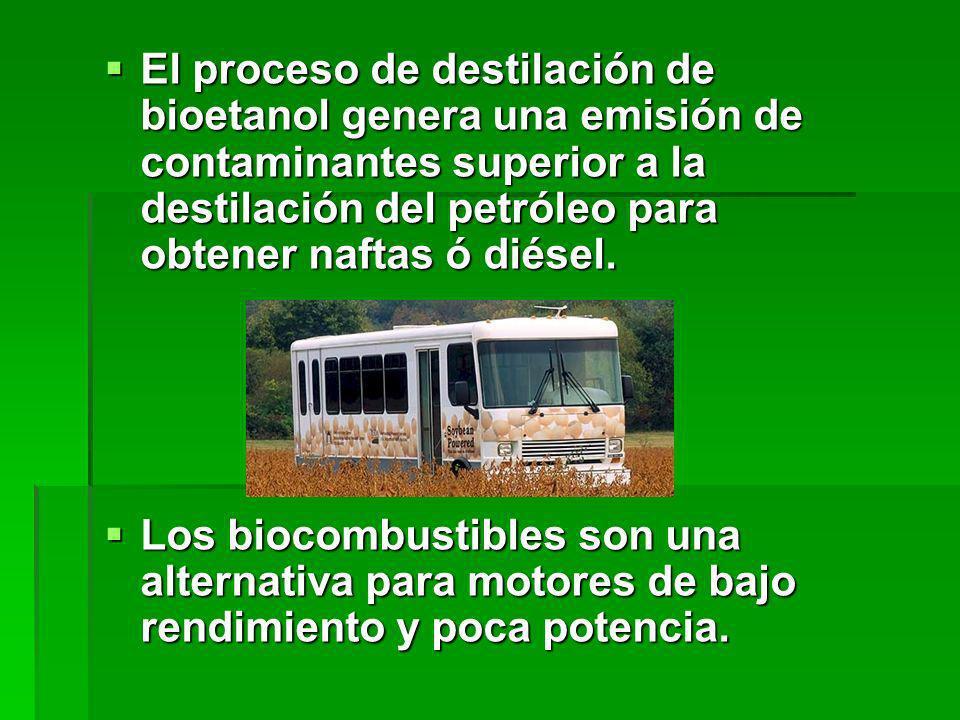 El proceso de destilación de bioetanol genera una emisión de contaminantes superior a la destilación del petróleo para obtener naftas ó diésel. El pro
