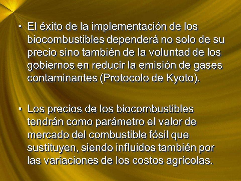 El éxito de la implementación de los biocombustibles dependerá no solo de su precio sino también de la voluntad de los gobiernos en reducir la emisión de gases contaminantes (Protocolo de Kyoto).El éxito de la implementación de los biocombustibles dependerá no solo de su precio sino también de la voluntad de los gobiernos en reducir la emisión de gases contaminantes (Protocolo de Kyoto).