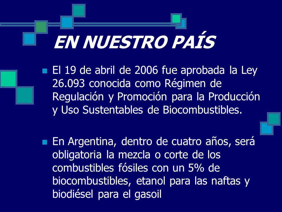EN NUESTRO PAÍS El 19 de abril de 2006 fue aprobada la Ley 26.093 conocida como Régimen de Regulación y Promoción para la Producción y Uso Sustentables de Biocombustibles.