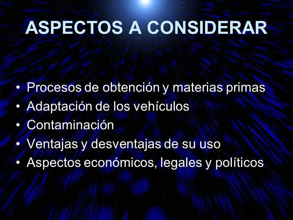 ASPECTOS A CONSIDERAR Procesos de obtención y materias primas Adaptación de los vehículos Contaminación Ventajas y desventajas de su uso Aspectos económicos, legales y políticos.