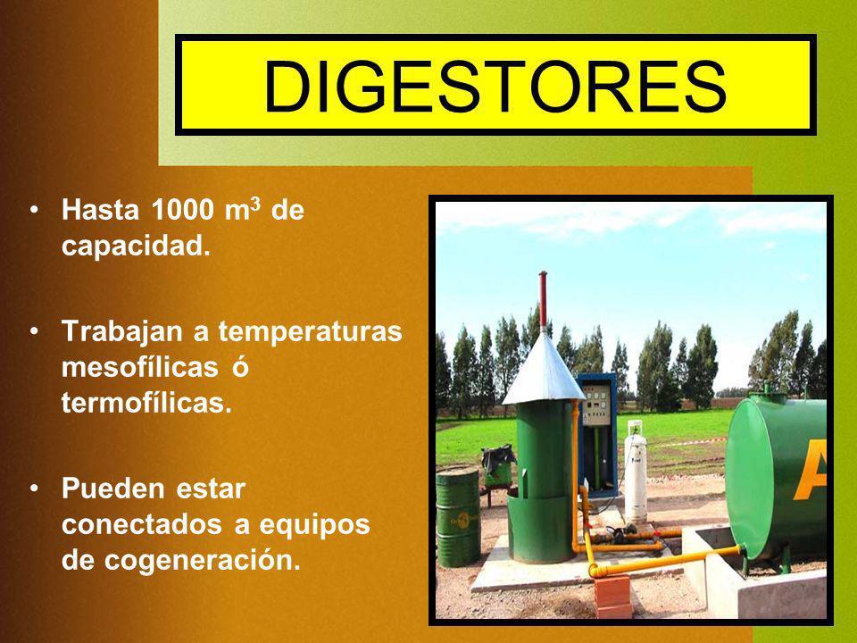 DIGESTORES Hasta 1000 m 3 de capacidad. Trabajan a temperaturas mesofílicas ó termofílicas. Pueden estar conectados a equipos de cogeneración.