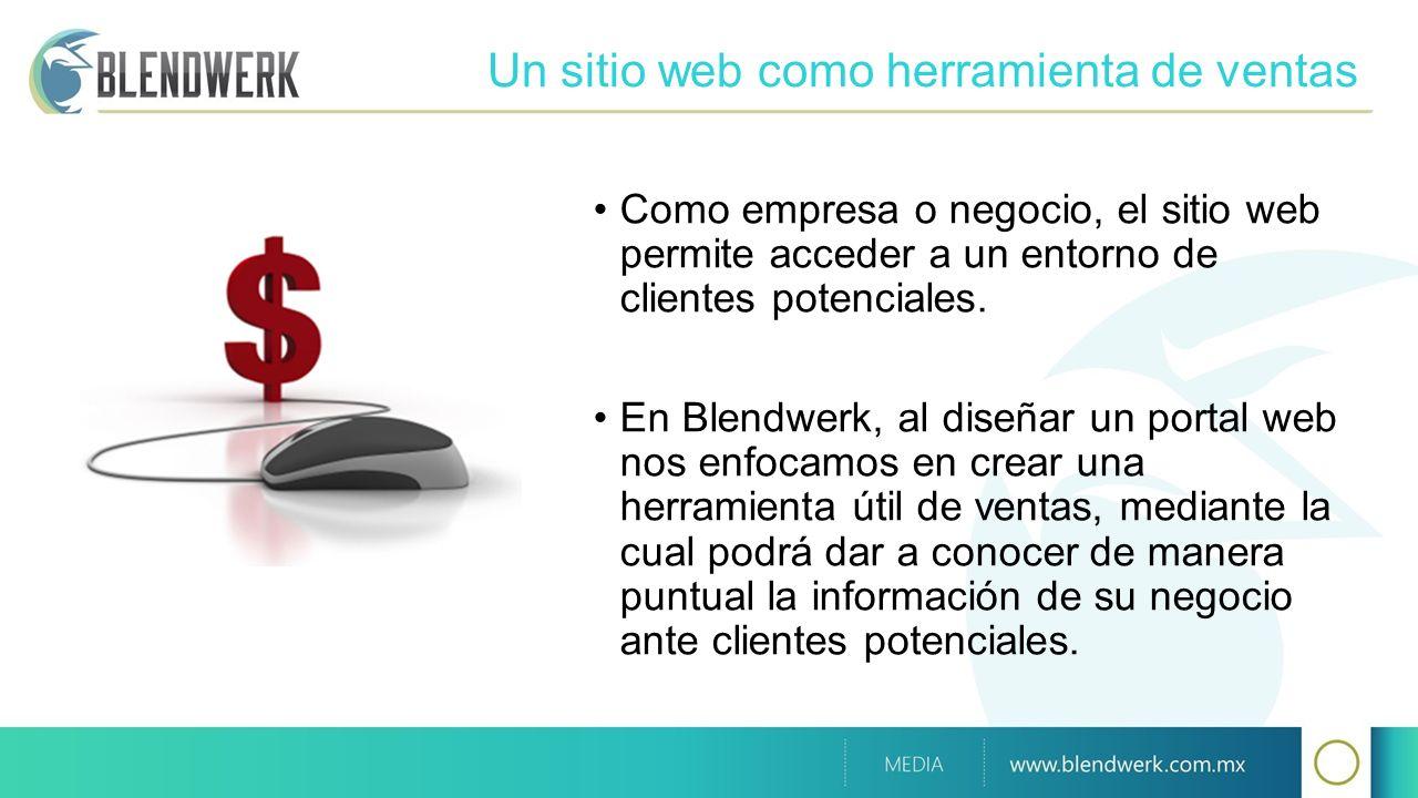 Un sitio web como herramienta de ventas Como empresa o negocio, el sitio web permite acceder a un entorno de clientes potenciales. En Blendwerk, al di