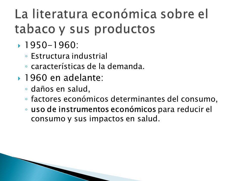 1950-1960: Estructura industrial características de la demanda. 1960 en adelante: daños en salud, factores económicos determinantes del consumo, uso d