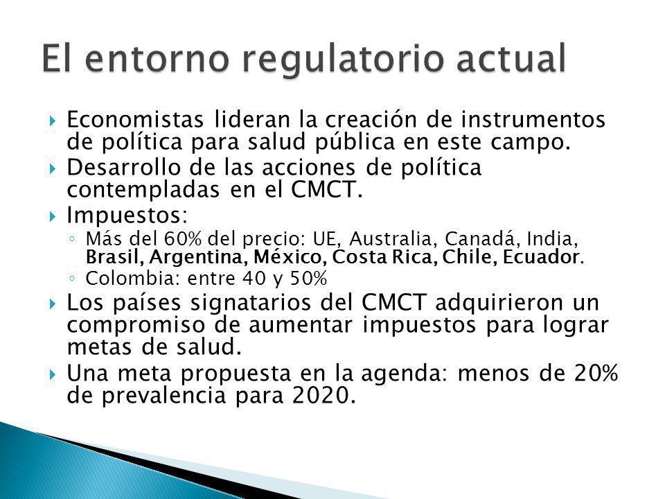 Economistas lideran la creación de instrumentos de política para salud pública en este campo. Desarrollo de las acciones de política contempladas en e