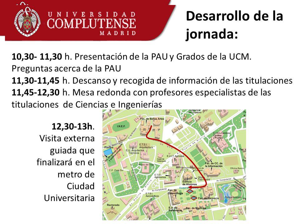 Desarrollo de la jornada: 10,30- 11,30 h. Presentación de la PAU y Grados de la UCM. Preguntas acerca de la PAU 11,30-11,45 h. Descanso y recogida de