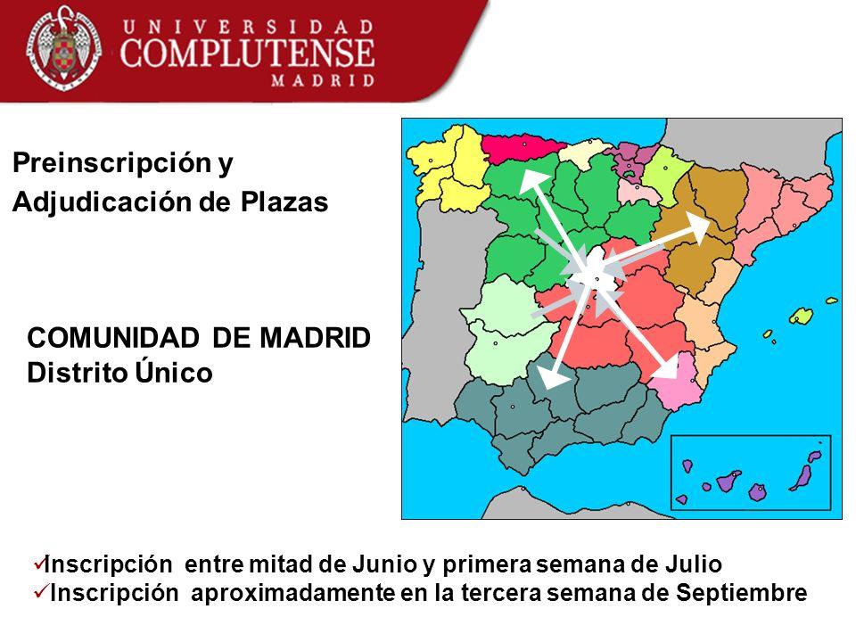 Preinscripción y Adjudicación de Plazas COMUNIDAD DE MADRID Distrito Único Inscripción entre mitad de Junio y primera semana de Julio Inscripción apro