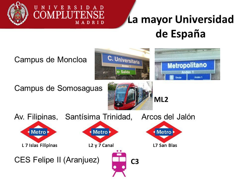 La mayor Universidad de España Campus de Moncloa Campus de Somosaguas Av. Filipinas, Santísima Trinidad, Arcos del Jalón CES Felipe II (Aranjuez) L7 S