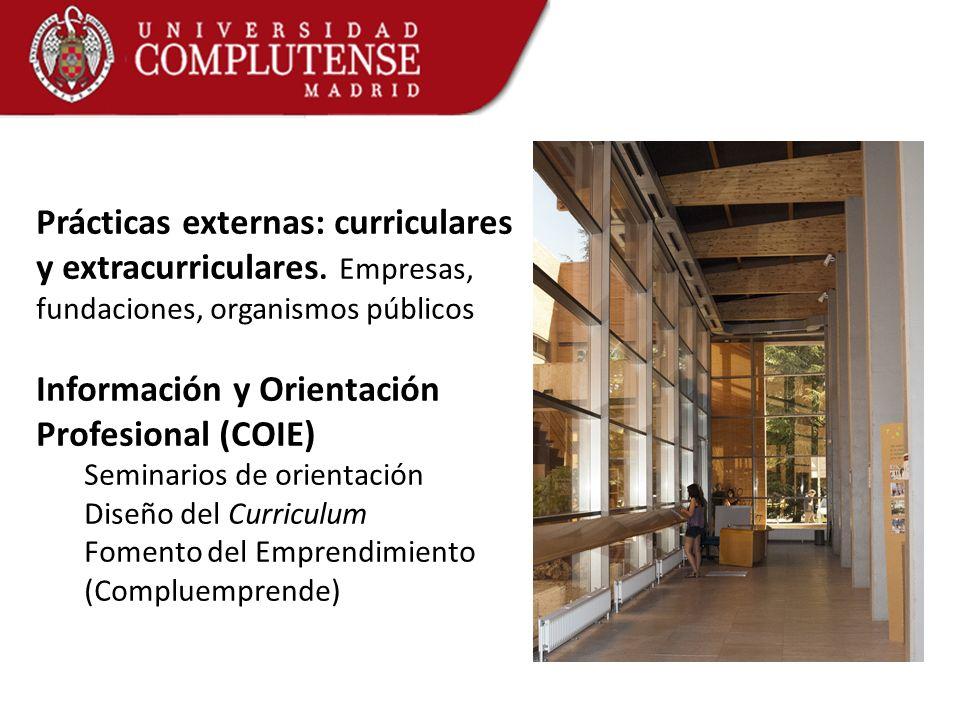 Prácticas externas: curriculares y extracurriculares. Empresas, fundaciones, organismos públicos Información y Orientación Profesional (COIE) Seminari