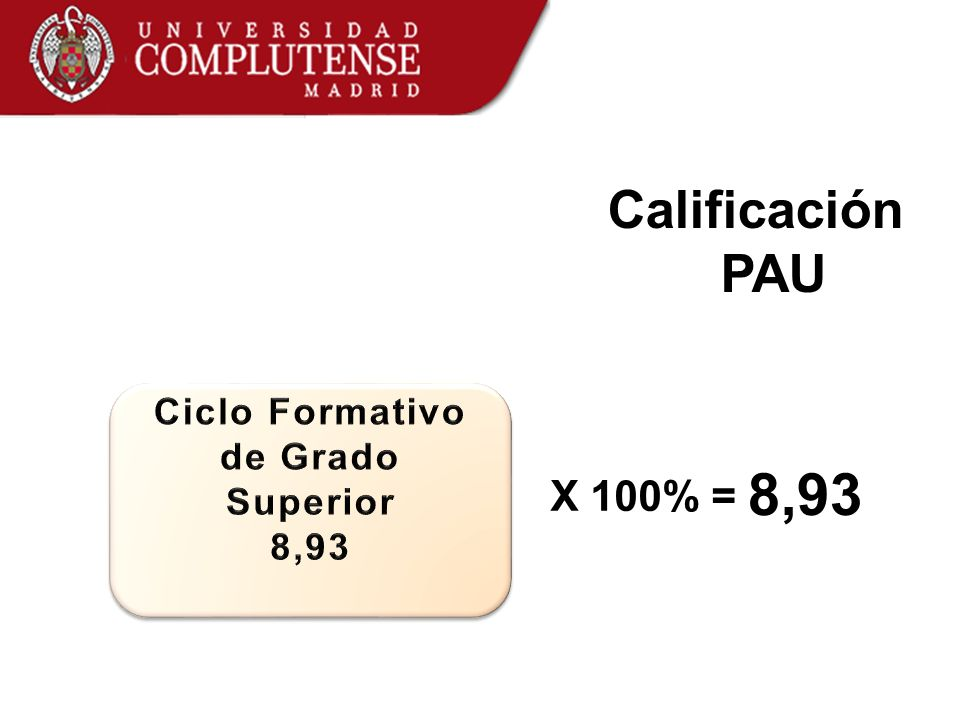 Calificación PAU X 100% = 8,93