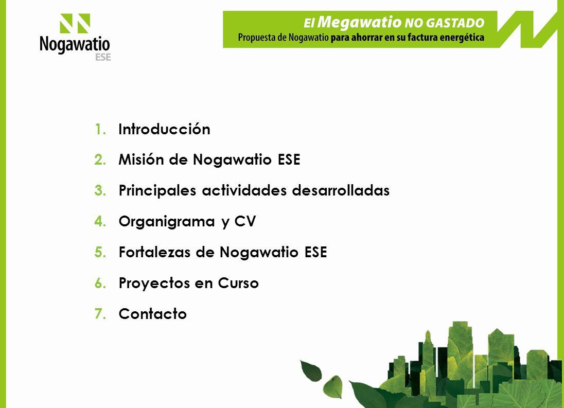 1.Introducción 2.Misión de Nogawatio ESE 3.Principales actividades desarrolladas 4.Organigrama y CV 5.Fortalezas de Nogawatio ESE 6.Proyectos en Curso