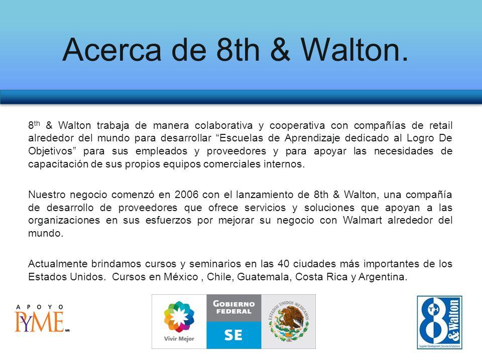 8 th & Walton trabaja de manera colaborativa y cooperativa con compañías de retail alrededor del mundo para desarrollar Escuelas de Aprendizaje dedicado al Logro De Objetivos para sus empleados y proveedores y para apoyar las necesidades de capacitación de sus propios equipos comerciales internos.