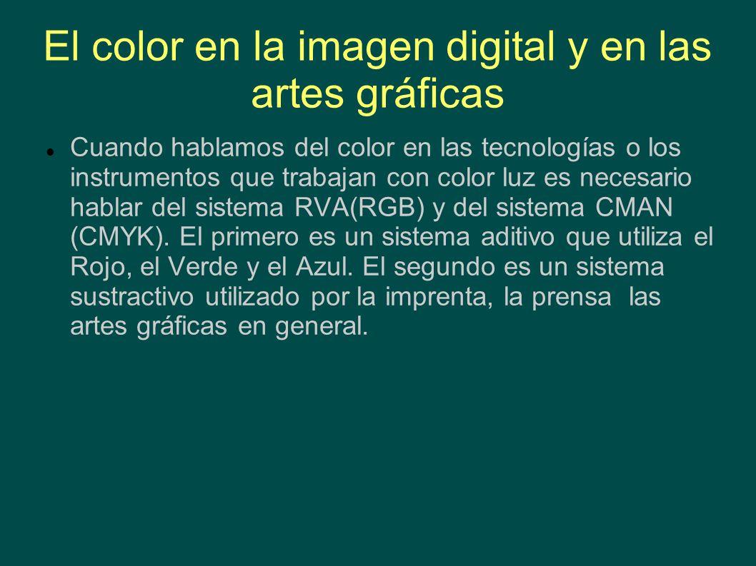 El color en la imagen digital y en las artes gráficas Cuando hablamos del color en las tecnologías o los instrumentos que trabajan con color luz es ne
