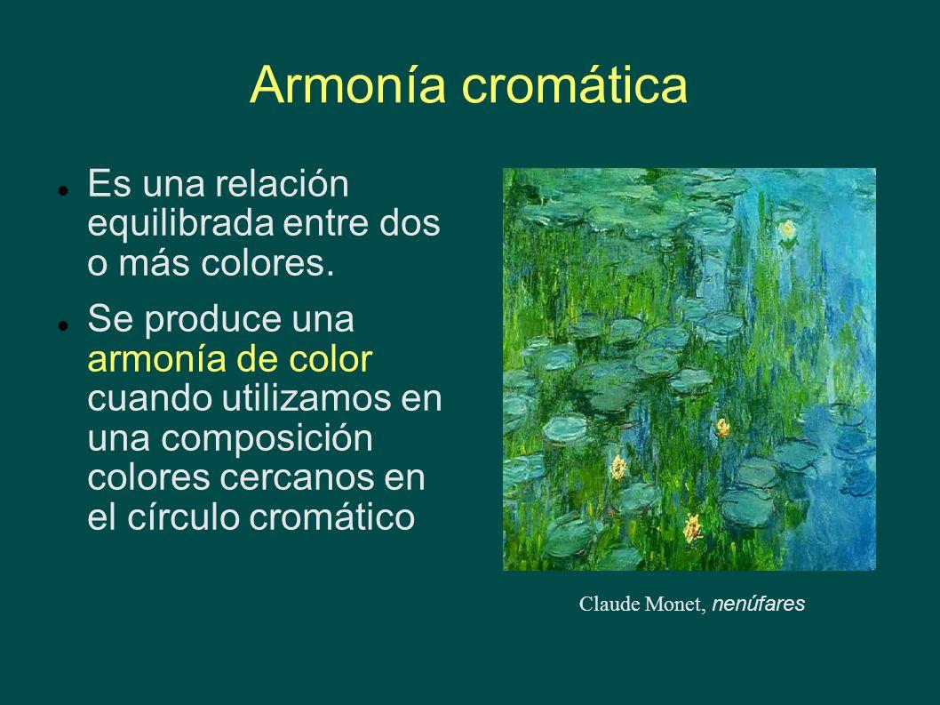 Armonía cromática Es una relación equilibrada entre dos o más colores. Se produce una armonía de color cuando utilizamos en una composición colores ce