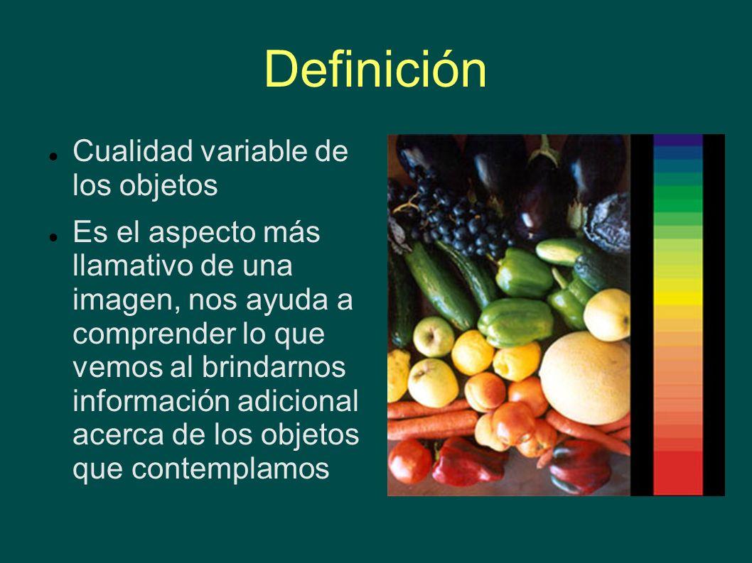 Definición Cualidad variable de los objetos Es el aspecto más llamativo de una imagen, nos ayuda a comprender lo que vemos al brindarnos información a