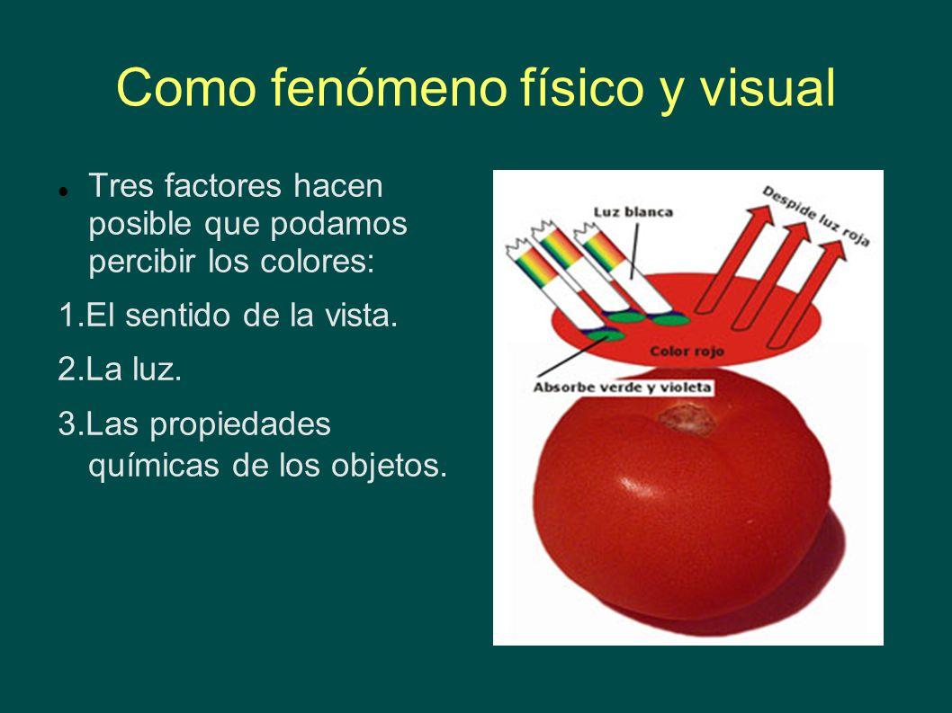 Como fenómeno físico y visual Tres factores hacen posible que podamos percibir los colores: 1.El sentido de la vista. 2.La luz. 3.Las propiedades quím