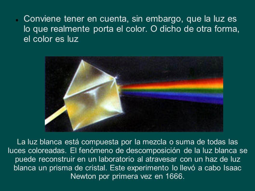 Conviene tener en cuenta, sin embargo, que la luz es lo que realmente porta el color. O dicho de otra forma, el color es luz La luz blanca está compue