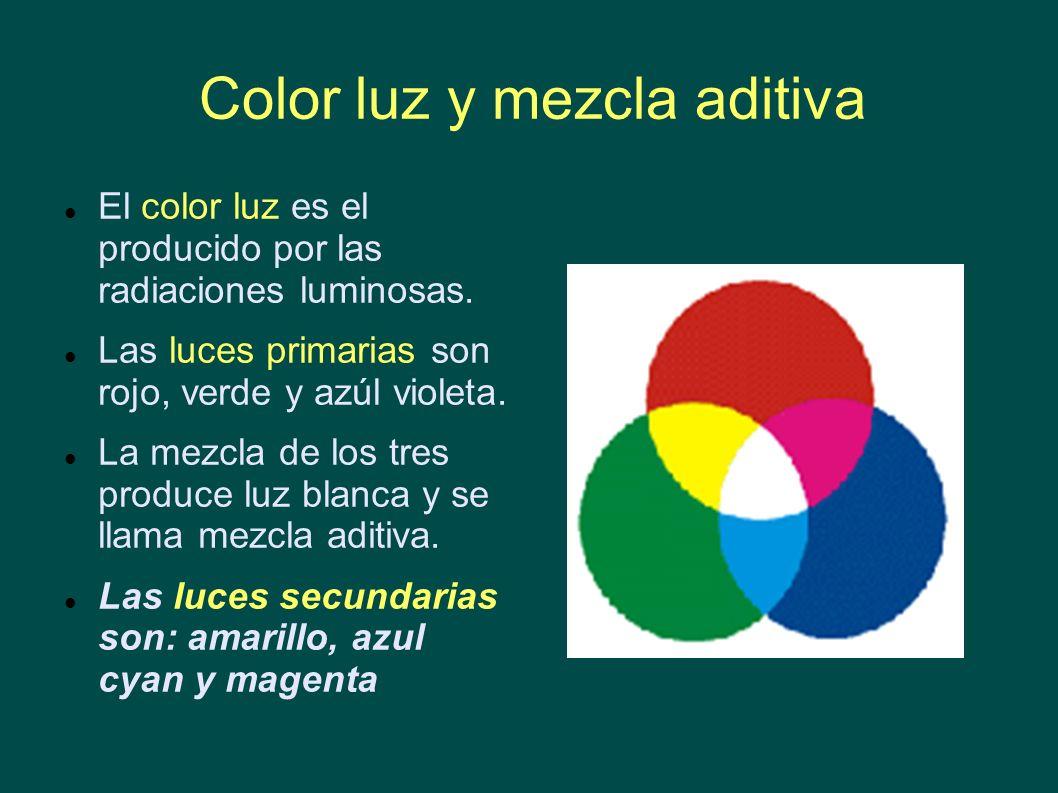 Color luz y mezcla aditiva El color luz es el producido por las radiaciones luminosas. Las luces primarias son rojo, verde y azúl violeta. La mezcla d