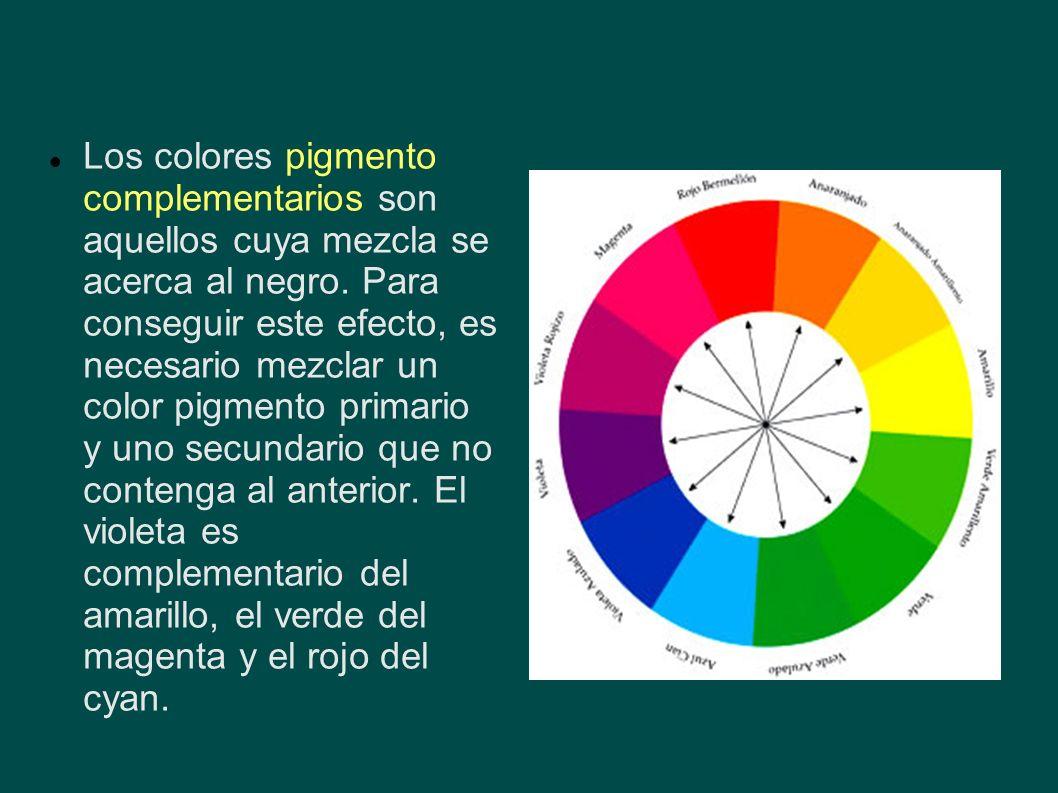 Los colores pigmento complementarios son aquellos cuya mezcla se acerca al negro. Para conseguir este efecto, es necesario mezclar un color pigmento p