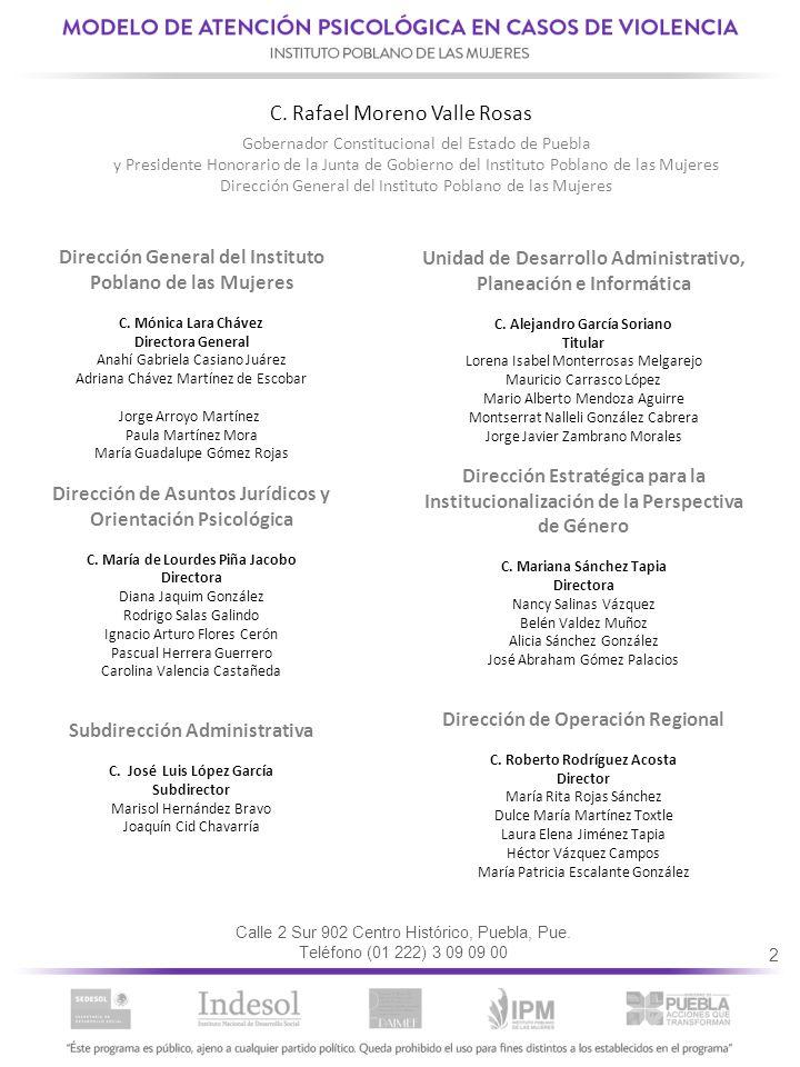 3 ÍNDICE 1.- El Instituto Poblano de las Mujeres y sus acciones estratégicas.