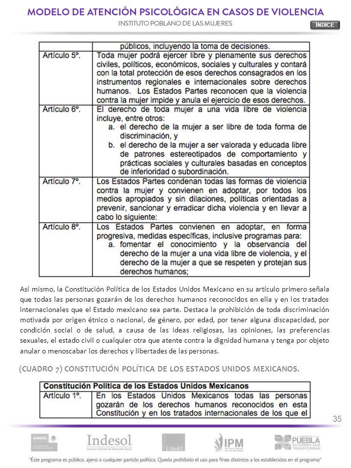 35 (CUADRO 7) CONSTITUCIÓN POLÍTICA DE LOS ESTADOS UNIDOS MEXICANOS. Así mismo, la Constitución Política de los Estados Unidos Mexicano en su artículo
