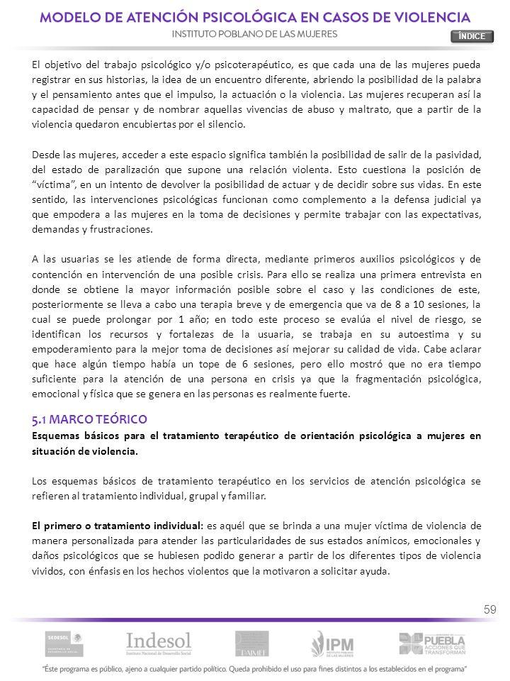 59 5.1 MARCO TEÓRICO Esquemas básicos para el tratamiento terapéutico de orientación psicológica a mujeres en situación de violencia. Los esquemas bás