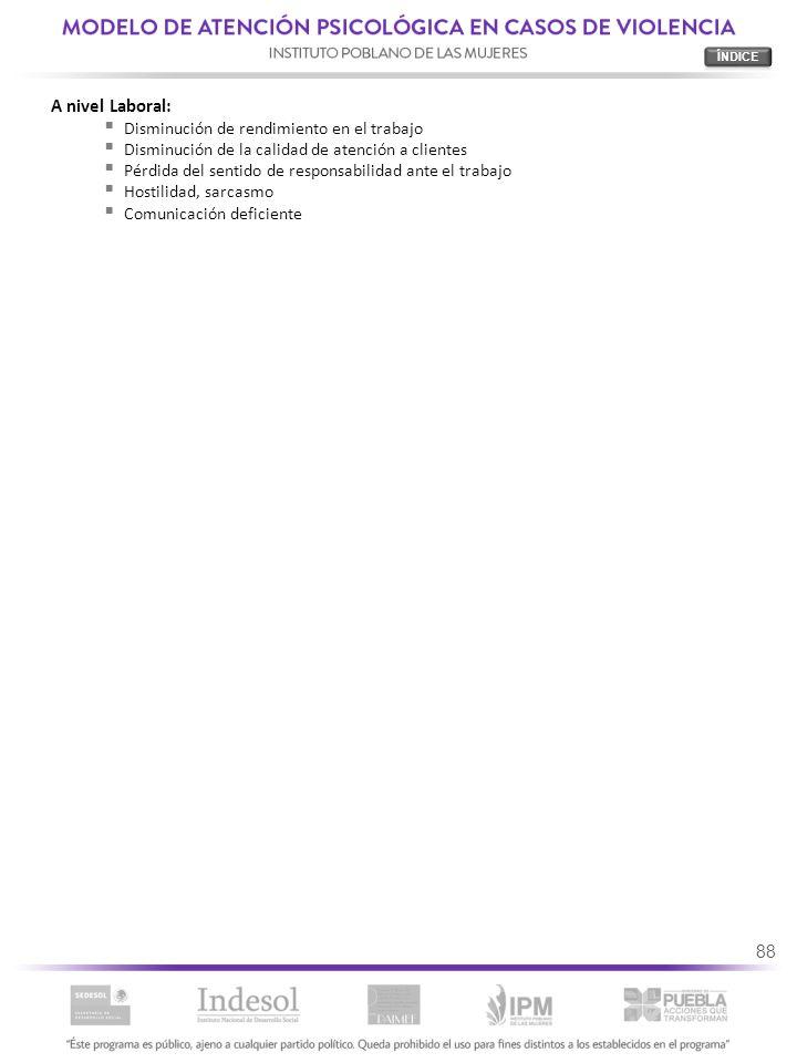 88 A nivel Laboral: Disminución de rendimiento en el trabajo Disminución de la calidad de atención a clientes Pérdida del sentido de responsabilidad a