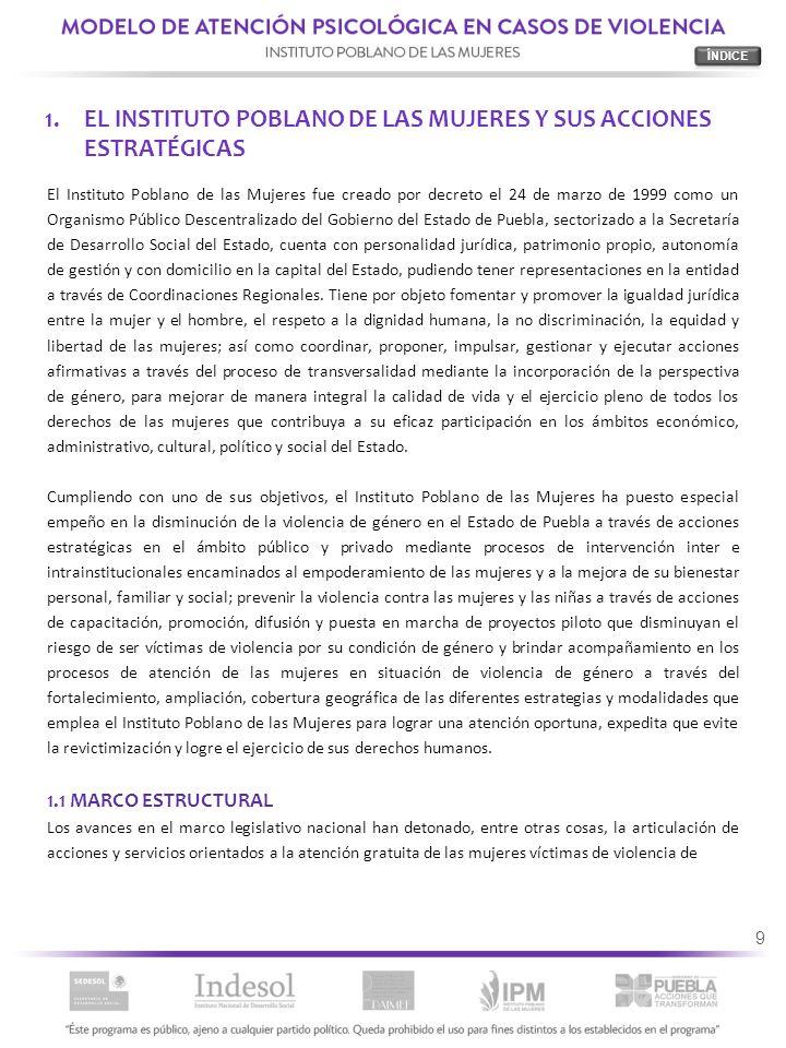 9 1.EL INSTITUTO POBLANO DE LAS MUJERES Y SUS ACCIONES ESTRATÉGICAS El Instituto Poblano de las Mujeres fue creado por decreto el 24 de marzo de 1999